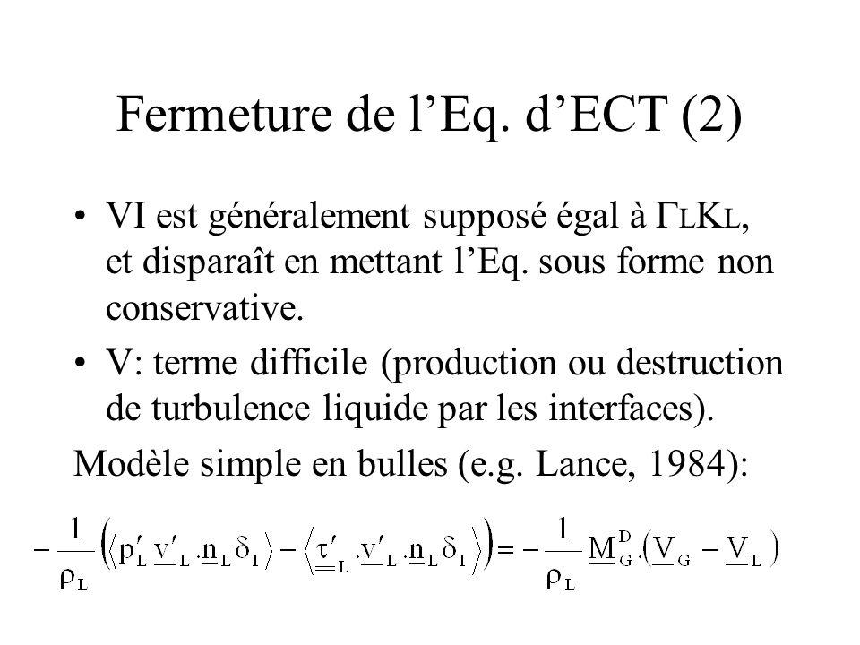 Fermeture de lEq. dECT (2) VI est généralement supposé égal à L K L, et disparaît en mettant lEq. sous forme non conservative. V: terme difficile (pro