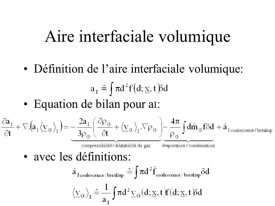 Aire interfaciale volumique Définition de laire interfaciale volumique: Equation de bilan pour a I : avec les définitions: