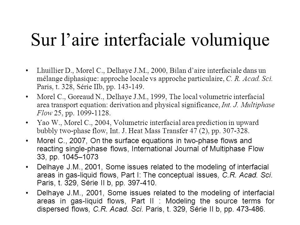 Sur laire interfaciale volumique Lhuillier D., Morel C., Delhaye J.M., 2000, Bilan daire interfaciale dans un mélange diphasique: approche locale vs a