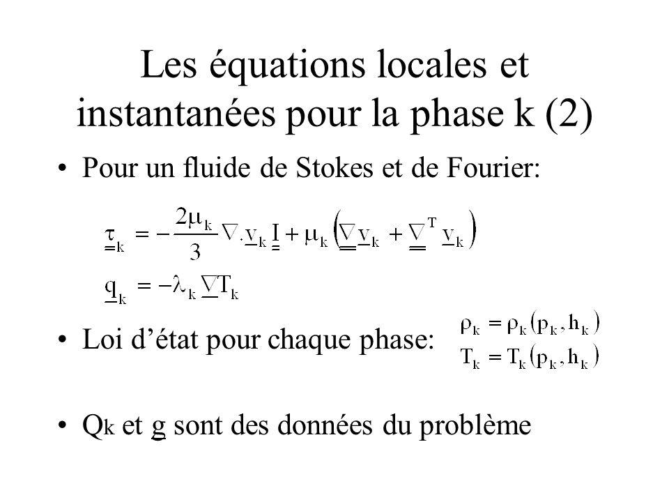Les équations locales et instantanées pour la phase k (2) Pour un fluide de Stokes et de Fourier: Loi détat pour chaque phase: Q k et g sont des donné