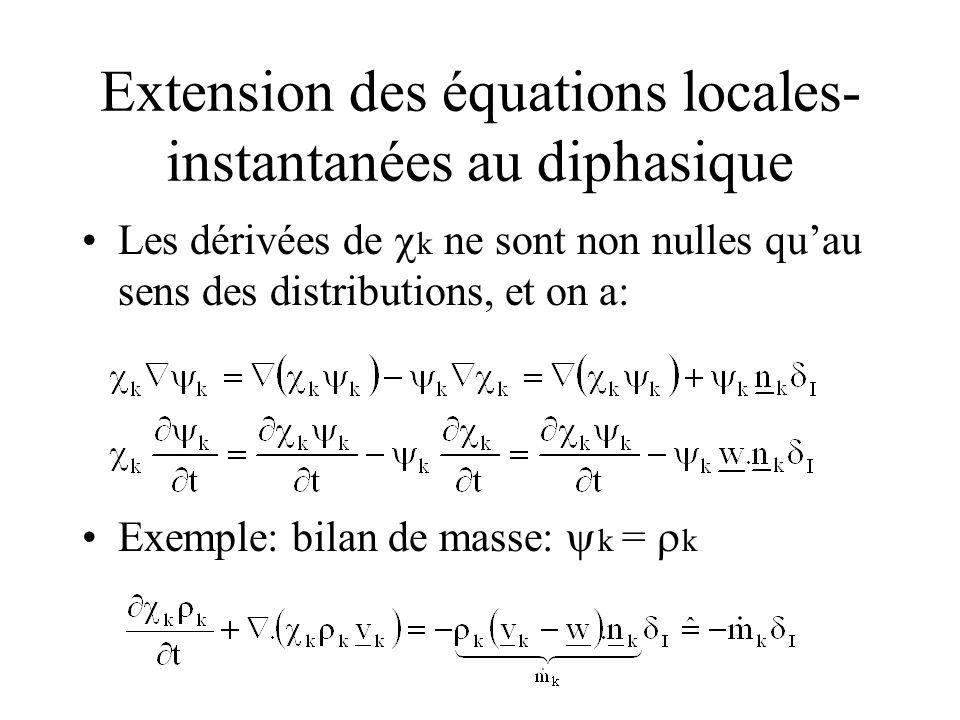 Extension des équations locales- instantanées au diphasique Les dérivées de k ne sont non nulles quau sens des distributions, et on a: Exemple: bilan