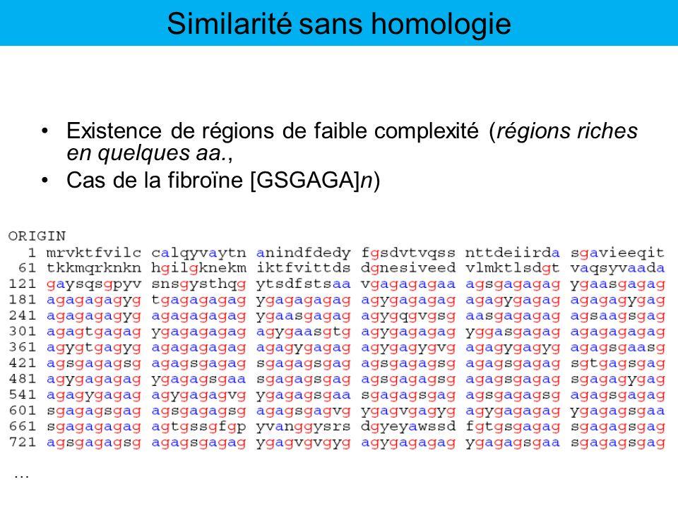 Existence de régions de faible complexité (régions riches en quelques aa., Cas de la fibroïne [GSGAGA]n) … Similarité sans homologie