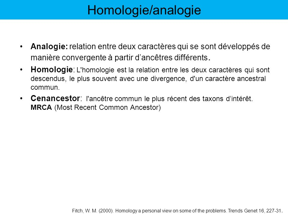 Analogie: relation entre deux caractères qui se sont développés de manière convergente à partir dancêtres différents. Homologie: L'homologie est la re