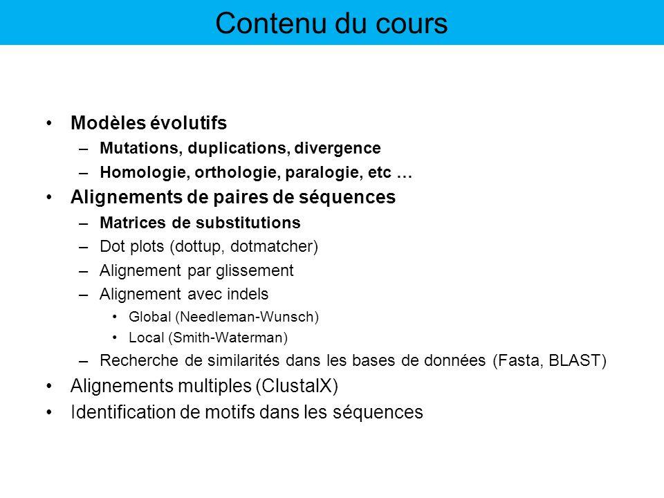 Modèles évolutifs –Mutations, duplications, divergence –Homologie, orthologie, paralogie, etc … Alignements de paires de séquences –Matrices de substi