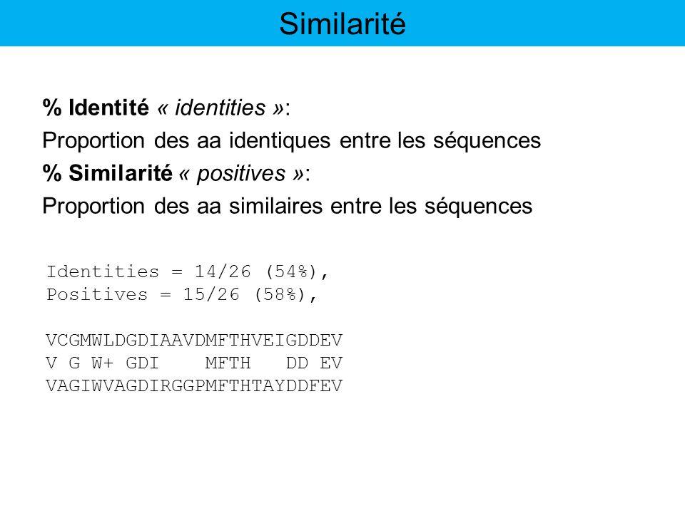 % Identité « identities »: Proportion des aa identiques entre les séquences % Similarité « positives »: Proportion des aa similaires entre les séquenc