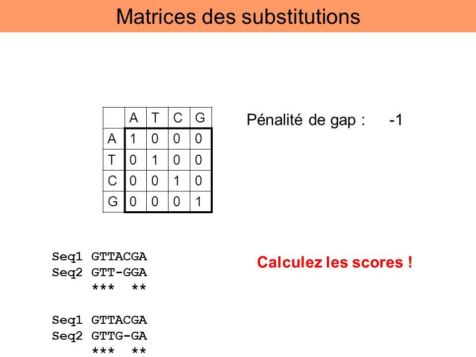 ATCG A1000 T0100 C0010 G0001 Pénalité de gap : -1 Seq1 GTTACGA Seq2 GTT-GGA *** ** Seq1 GTTACGA Seq2 GTTG-GA *** ** Calculez les scores ! Matrices des