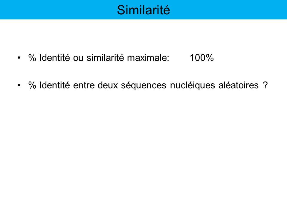 % Identité ou similarité maximale:100% % Identité entre deux séquences nucléiques aléatoires ? Similarité