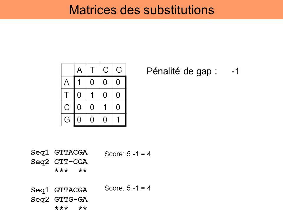 ATCG A1000 T0100 C0010 G0001 Pénalité de gap : -1 Seq1 GTTACGA Seq2 GTT-GGA *** ** Seq1 GTTACGA Seq2 GTTG-GA *** ** Score: 5 -1 = 4 Matrices des subst