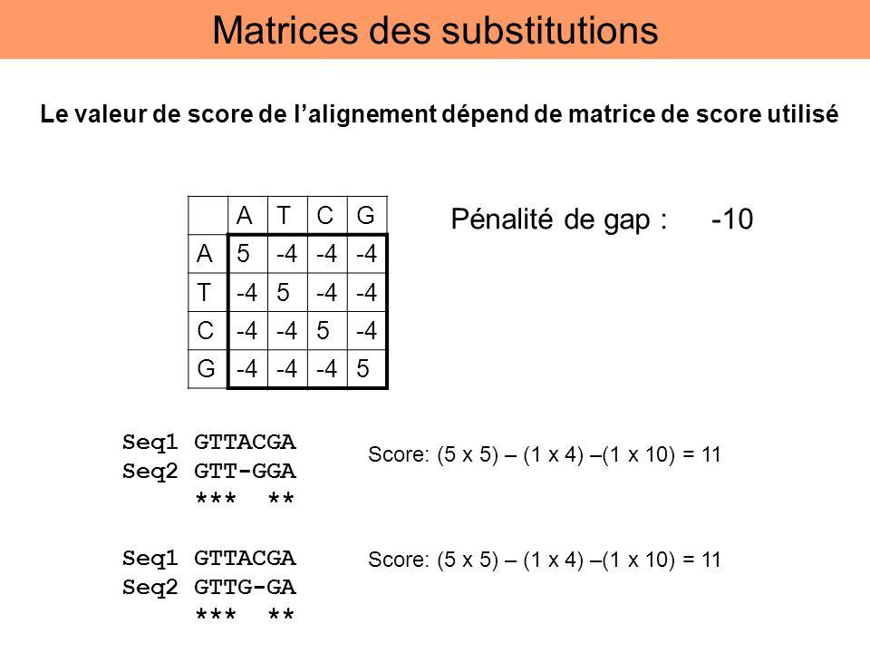 ATCG A5-4 T 5 C 5 G 5 Pénalité de gap : -10 Score: (5 x 5) – (1 x 4) –(1 x 10) = 11 Seq1 GTTACGA Seq2 GTT-GGA *** ** Seq1 GTTACGA Seq2 GTTG-GA *** **