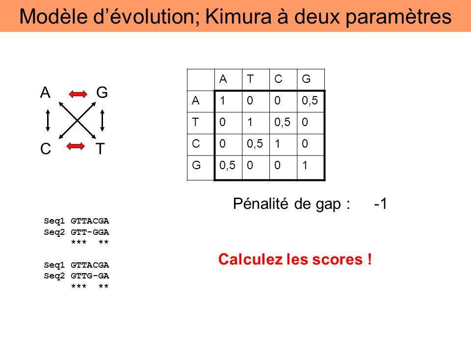 A G C T ATCG A1000,5 T01 0 C0 10 G 001 Seq1 GTTACGA Seq2 GTT-GGA *** ** Seq1 GTTACGA Seq2 GTTG-GA *** ** Pénalité de gap : -1 Calculez les scores ! Mo