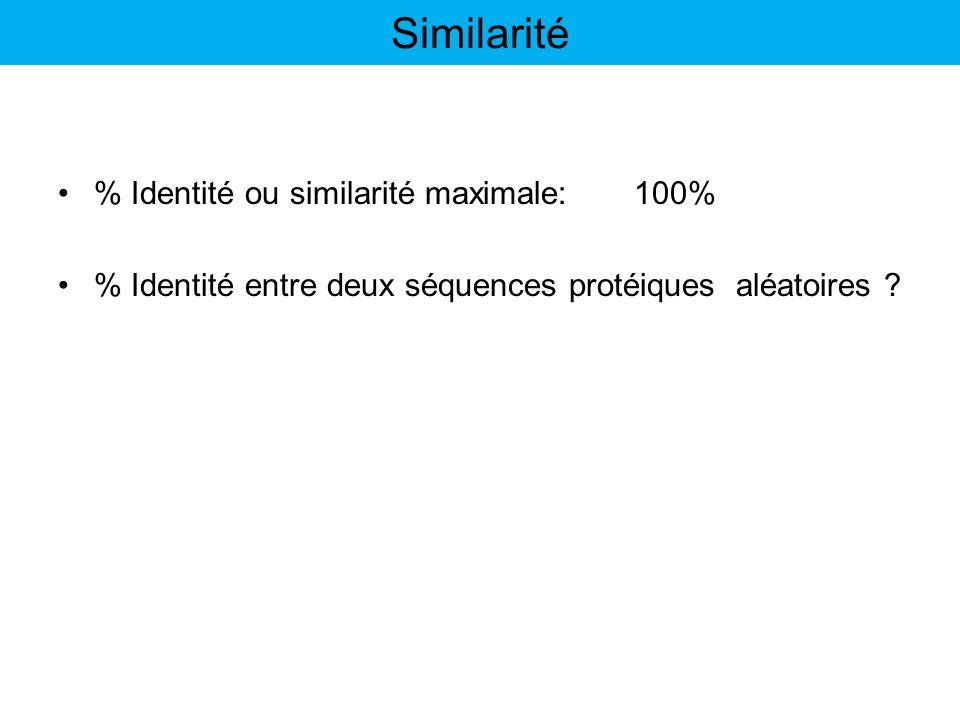 % Identité ou similarité maximale:100% % Identité entre deux séquences protéiques aléatoires ? Similarité