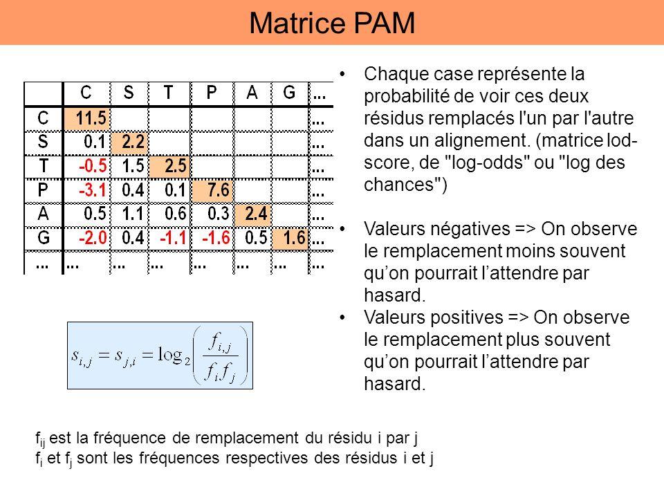 Matrice PAM Chaque case représente la probabilité de voir ces deux résidus remplacés l'un par l'autre dans un alignement. (matrice lod- score, de