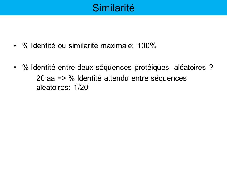 % Identité ou similarité maximale: 100% % Identité entre deux séquences protéiques aléatoires ? 20 aa => % Identité attendu entre séquences aléatoires
