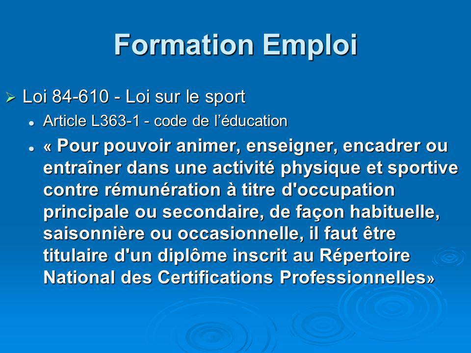 Formation Emploi Loi 84-610 - Loi sur le sport Loi 84-610 - Loi sur le sport Article L363-1 - code de léducation Article L363-1 - code de léducation «