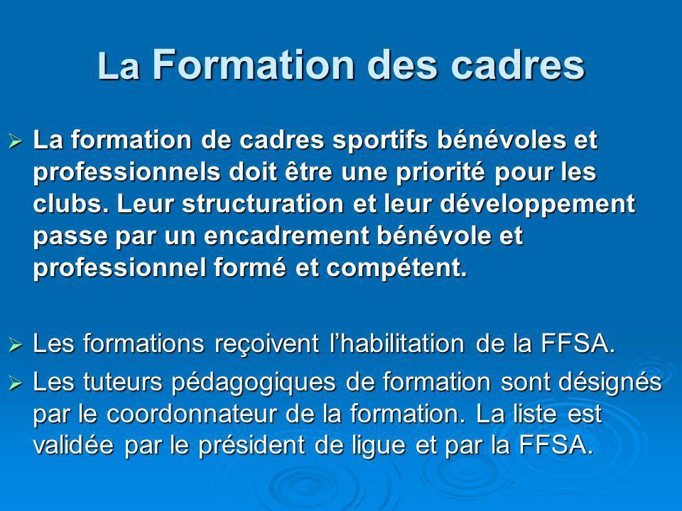 La Formation des cadres La formation de cadres sportifs bénévoles et professionnels doit être une priorité pour les clubs. Leur structuration et leur