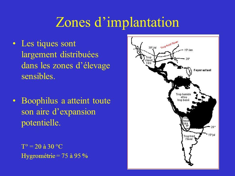 Zones dimplantation Les tiques sont largement distribuées dans les zones délevage sensibles.