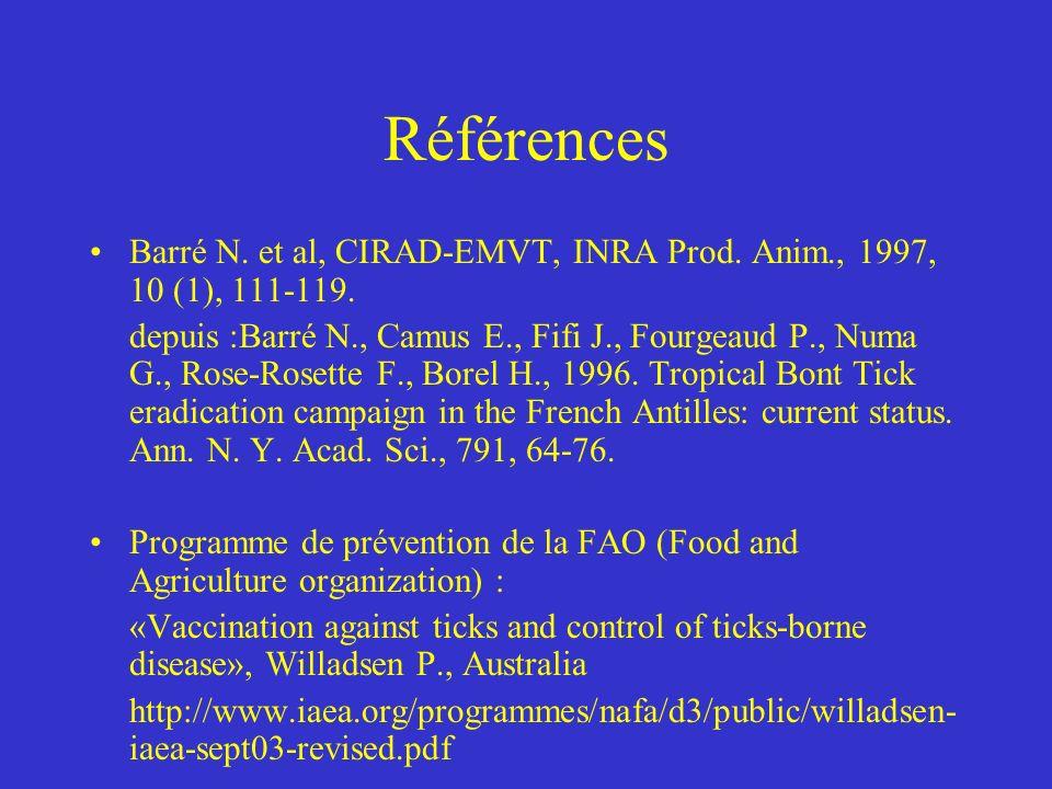 Références Barré N.et al, CIRAD-EMVT, INRA Prod. Anim., 1997, 10 (1), 111-119.