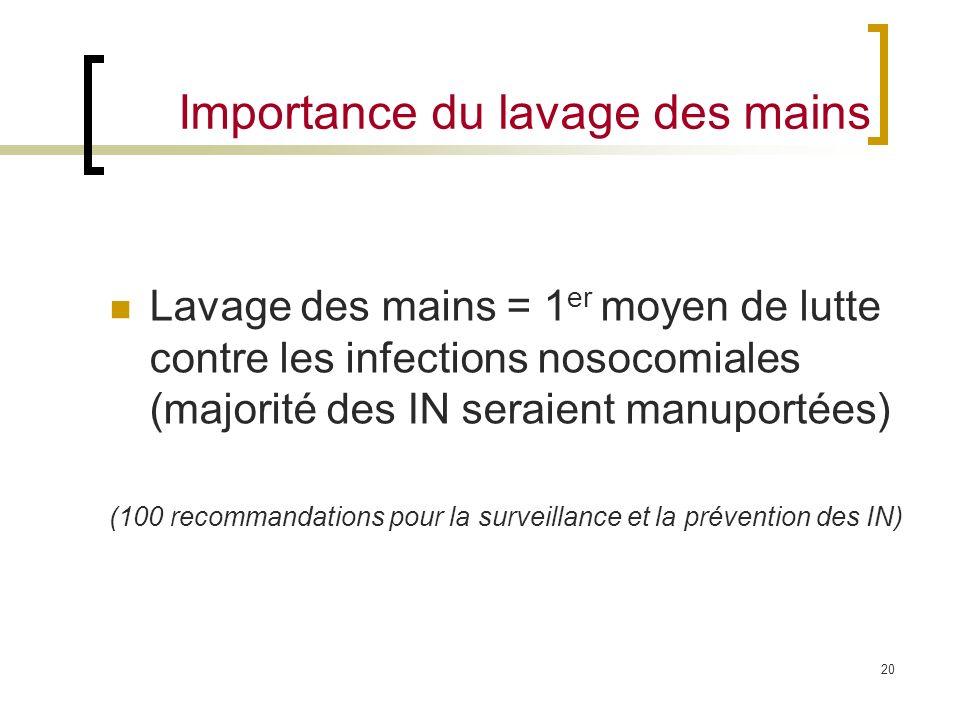 20 Importance du lavage des mains Lavage des mains = 1 er moyen de lutte contre les infections nosocomiales (majorité des IN seraient manuportées) (10