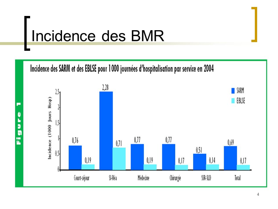 Illustration (III) Réduction de la morbidité associée aux BMR chez les patients de réanimation par les mesures de contrôle de l infection étude rétrospective comparative avant (P1)/après (P2) absence de mesures vs mise en place de mesures de contrôle Résultats patients infectés ou colonisés P1 P2 p MRSA, KP (BLSE), EA (MR)35 (15%)24 (6.8%)0.001 MRSA18 (7.7%) 9 (2.6%)0.004 KP (BLSE) 4 (1.7%) 0 (0%)0.025 EA (MR)13 (5.6%)15 (4.3%)0.47 Mesures de contrôle de l infection.