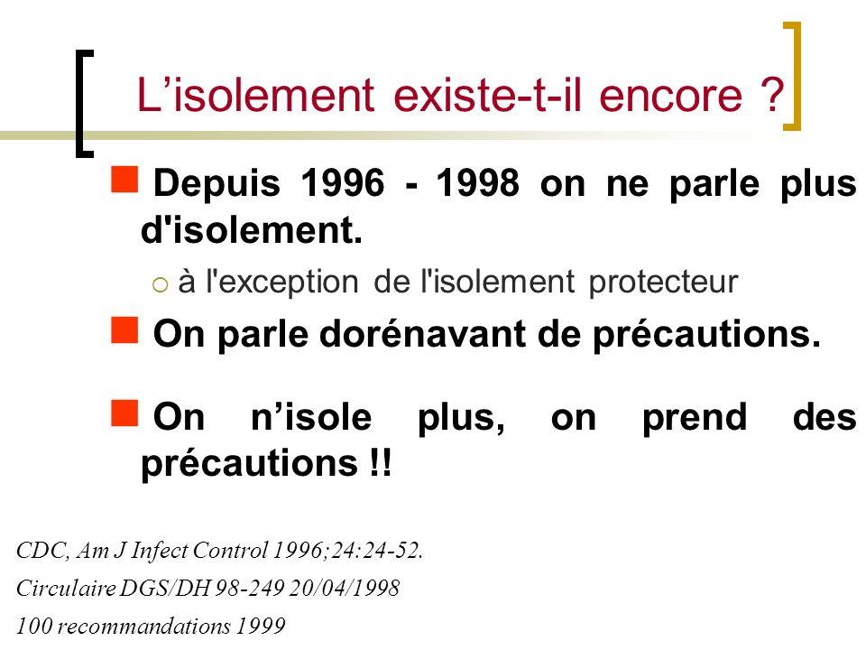 Depuis 1996 - 1998 on ne parle plus d'isolement. à l'exception de l'isolement protecteur On parle dorénavant de précautions. On nisole plus, on prend