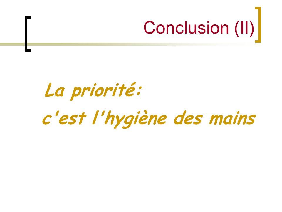 Conclusion (II) La priorité: c'est l'hygiène des mains
