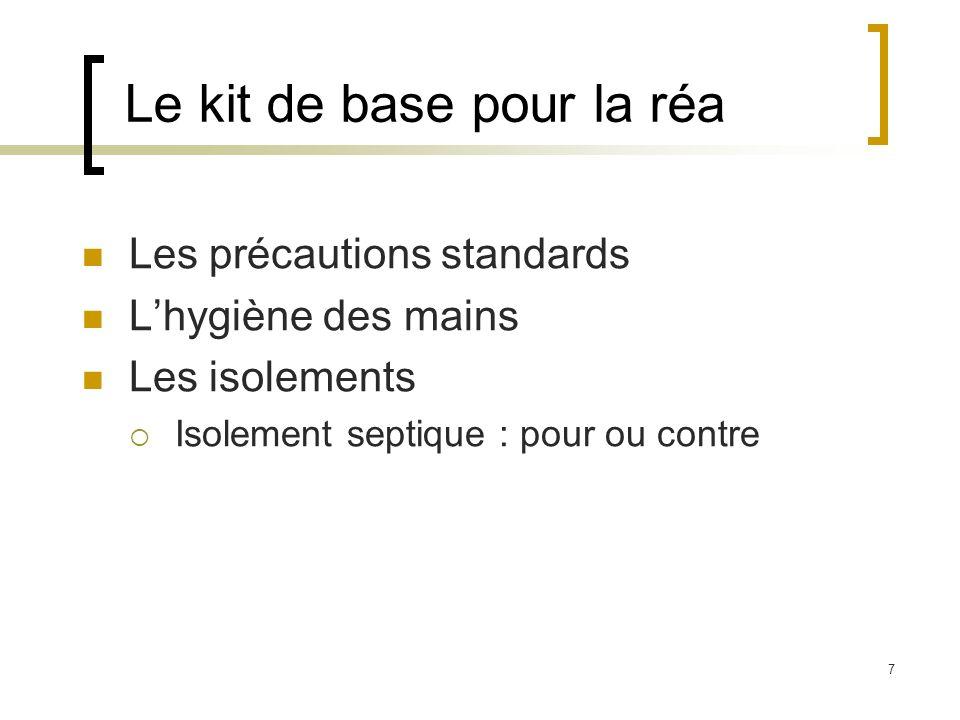 7 Le kit de base pour la réa Les précautions standards Lhygiène des mains Les isolements Isolement septique : pour ou contre