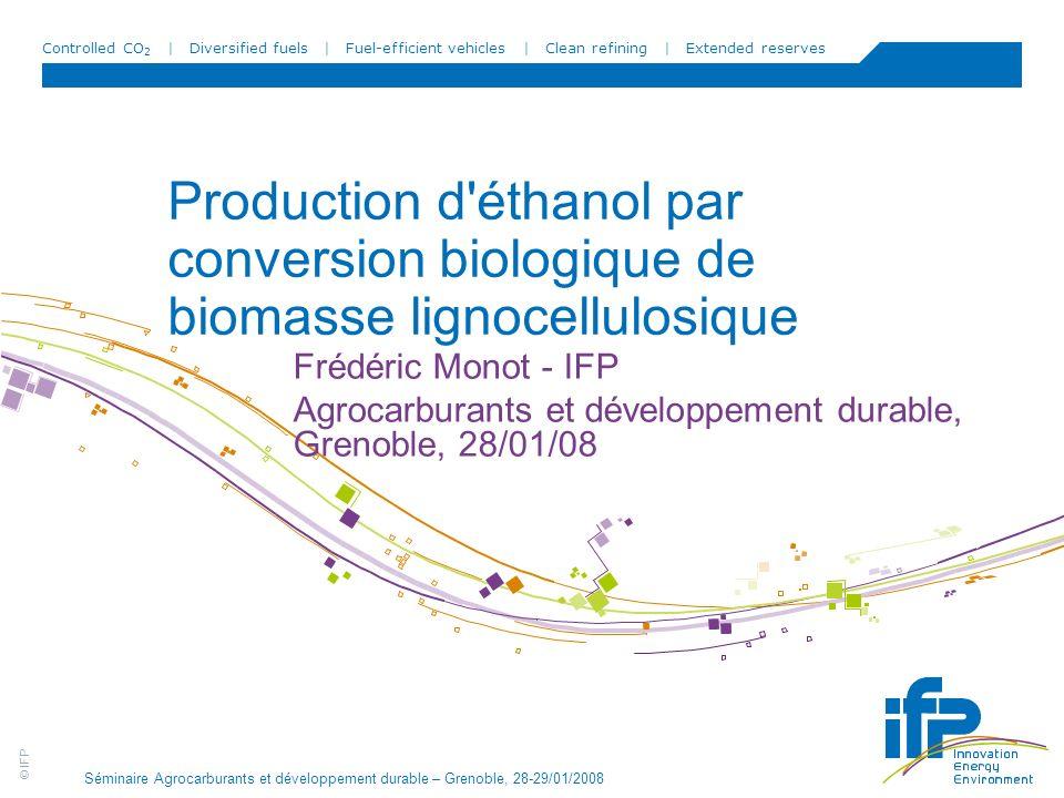 © IFP Controlled CO 2 | Diversified fuels | Fuel-efficient vehicles | Clean refining | Extended reserves Séminaire Agrocarburants et développement dur