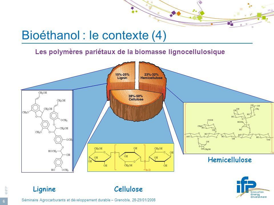 © IFP Séminaire Agrocarburants et développement durable – Grenoble, 28-29/01/2008 6 Lignine Hemicellulose Cellulose Bioéthanol : le contexte (4) Les p