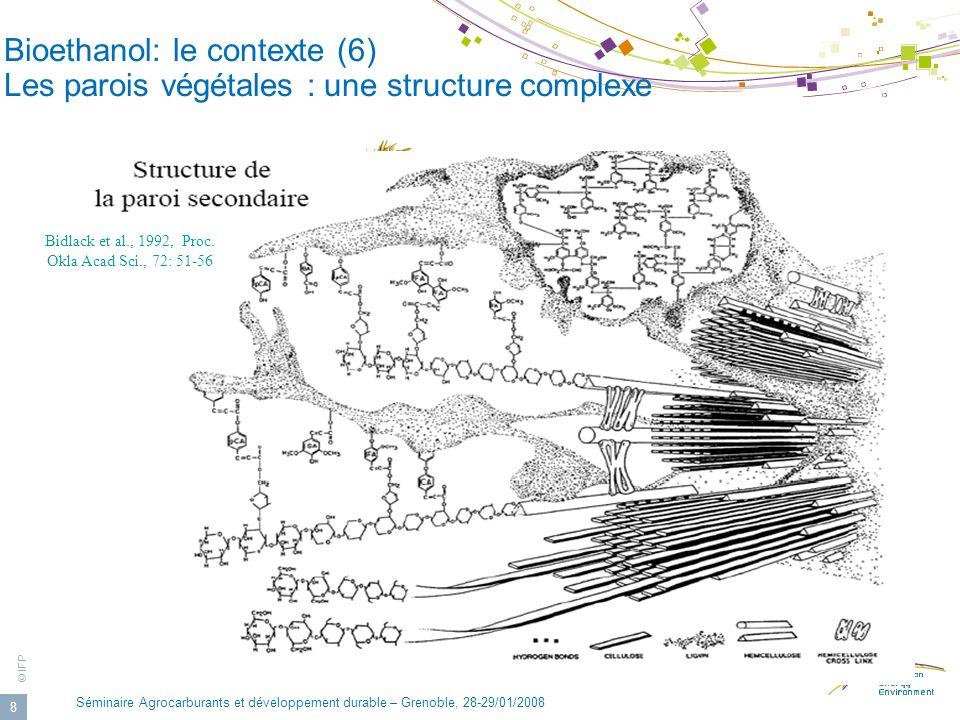 © IFP Séminaire Agrocarburants et développement durable – Grenoble, 28-29/01/2008 8 Cellulose Lignine Hemicellulose Bidlack et al., 1992, Proc. Okla A