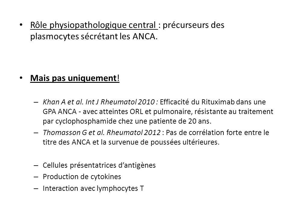Rôle physiopathologique central : précurseurs des plasmocytes sécrétant les ANCA. Mais pas uniquement! – Khan A et al. Int J Rheumatol 2010 : Efficaci