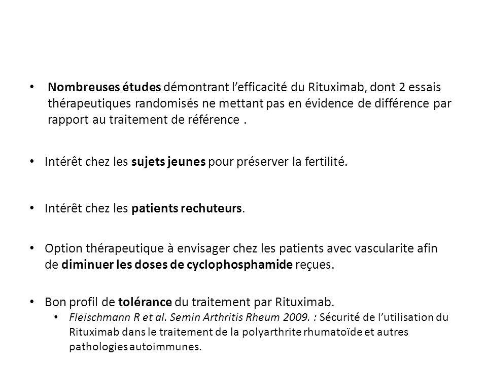 Nombreuses études démontrant lefficacité du Rituximab, dont 2 essais thérapeutiques randomisés ne mettant pas en évidence de différence par rapport au