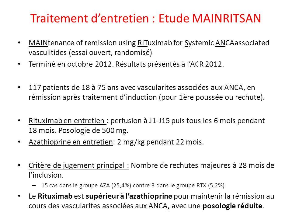 Traitement dentretien : Etude MAINRITSAN MAINtenance of remission using RITuximab for Systemic ANCAassociated vasculitides (essai ouvert, randomisé) T