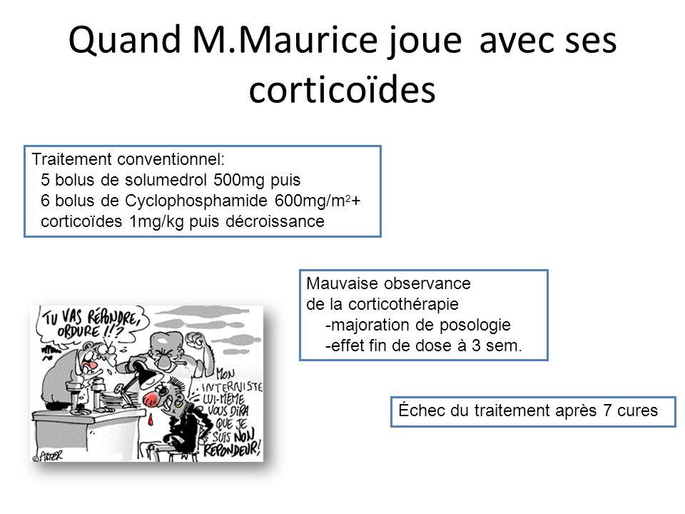 Quand M.Maurice joue avec ses corticoïdes Traitement conventionnel: 5 bolus de solumedrol 500mg puis 6 bolus de Cyclophosphamide 600mg/m 2 + corticoïd