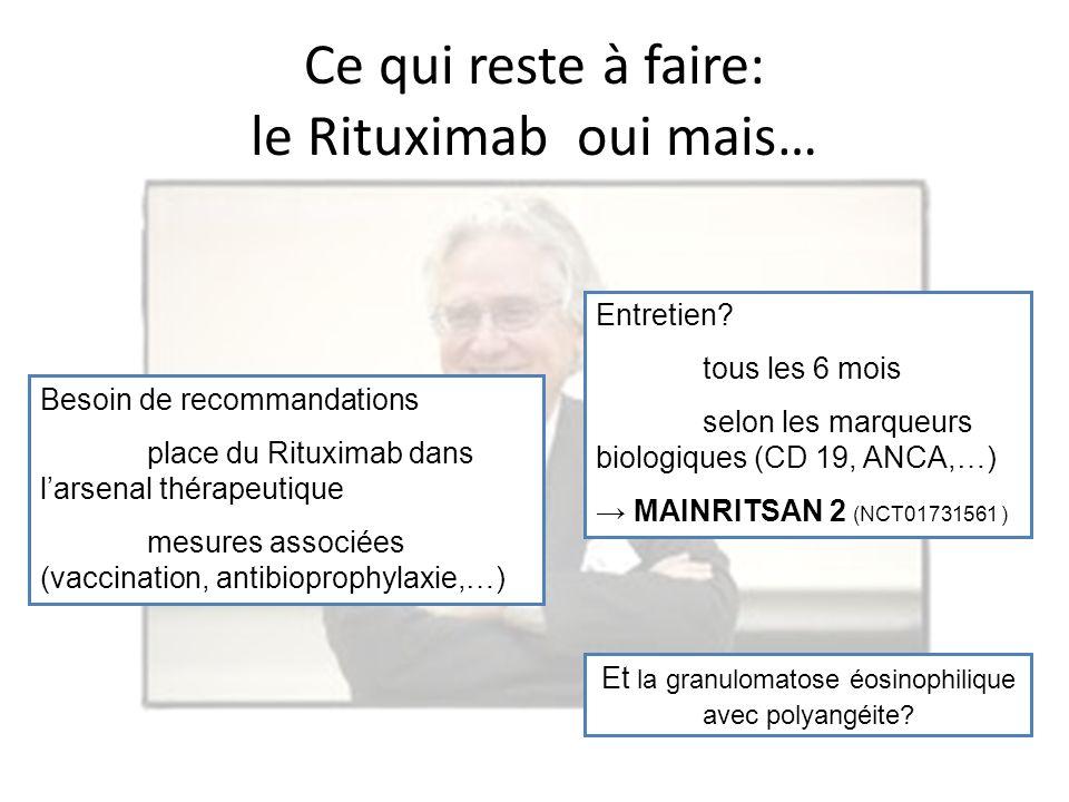 Entretien? tous les 6 mois selon les marqueurs biologiques (CD 19, ANCA,…) MAINRITSAN 2 (NCT01731561 ) Besoin de recommandations place du Rituximab da