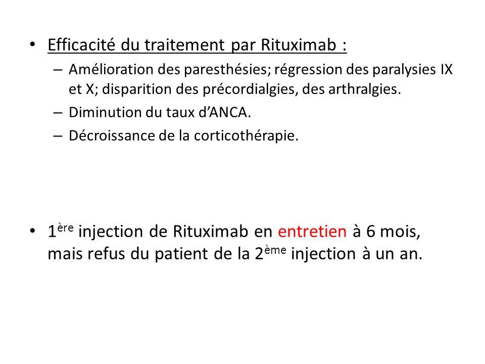 Efficacité du traitement par Rituximab : – Amélioration des paresthésies; régression des paralysies IX et X; disparition des précordialgies, des arthr
