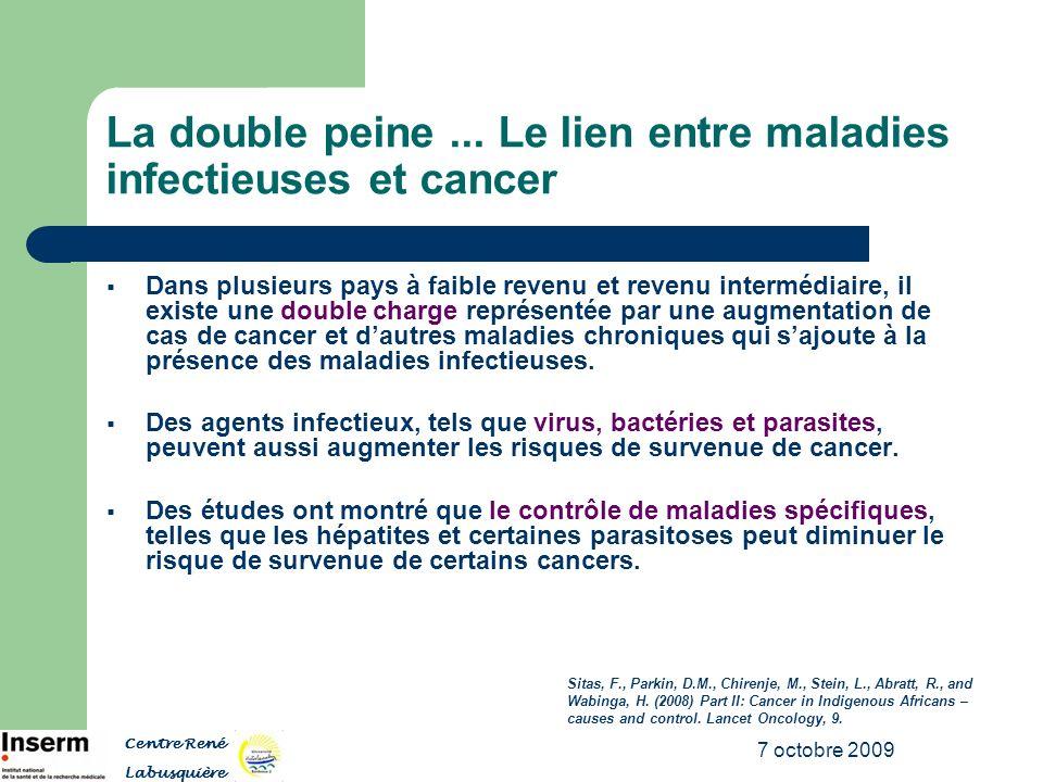 7 octobre 2009 La double peine... Le lien entre maladies infectieuses et cancer Dans plusieurs pays à faible revenu et revenu intermédiaire, il existe