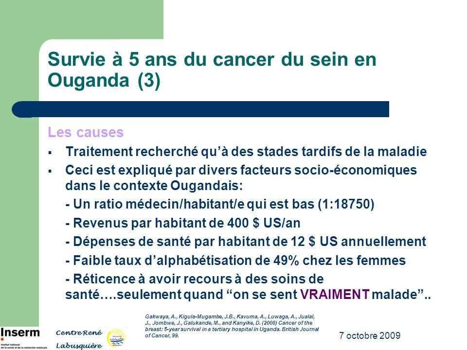 7 octobre 2009 Survie à 5 ans du cancer du sein en Ouganda (3) Les causes Traitement recherché quà des stades tardifs de la maladie Ceci est expliqué