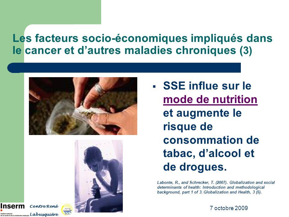 7 octobre 2009 Les facteurs socio-économiques impliqués dans le cancer et dautres maladies chroniques ( 3) SSE influe sur le mode de nutrition et augm