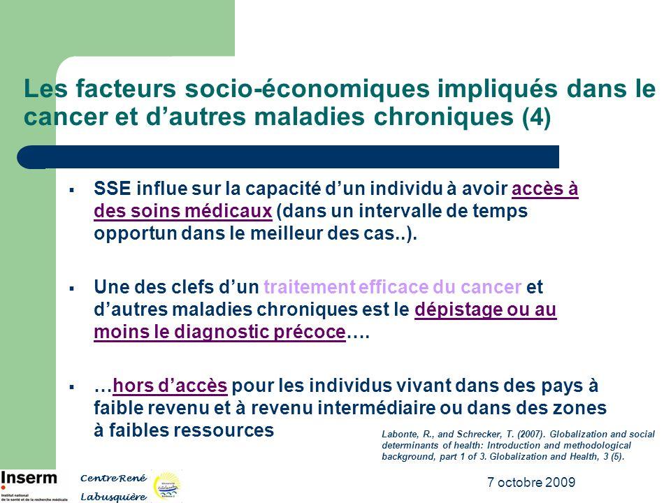 7 octobre 2009 Les facteurs socio-économiques impliqués dans le cancer et dautres maladies chroniques (4) SSE influe sur la capacité dun individu à av