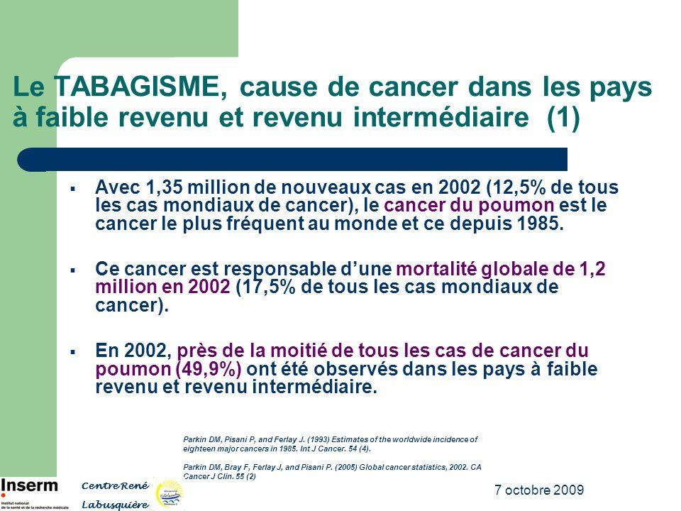 7 octobre 2009 Le TABAGISME, cause de cancer dans les pays à faible revenu et revenu intermédiaire (1) Avec 1,35 million de nouveaux cas en 2002 (12,5