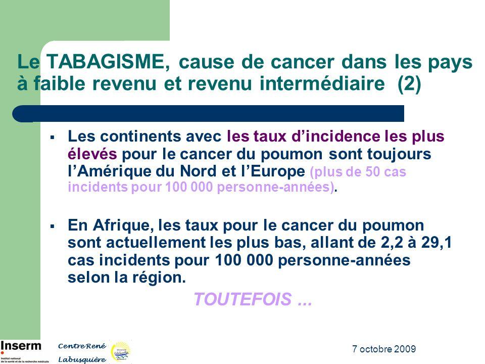 7 octobre 2009 Le TABAGISME, cause de cancer dans les pays à faible revenu et revenu intermédiaire (2) Les continents avec les taux dincidence les plu