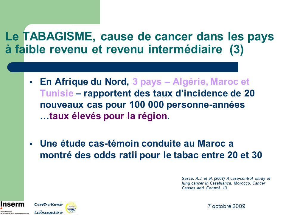 7 octobre 2009 Le TABAGISME, cause de cancer dans les pays à faible revenu et revenu intermédiaire (3) En Afrique du Nord, 3 pays – Algérie, Maroc et