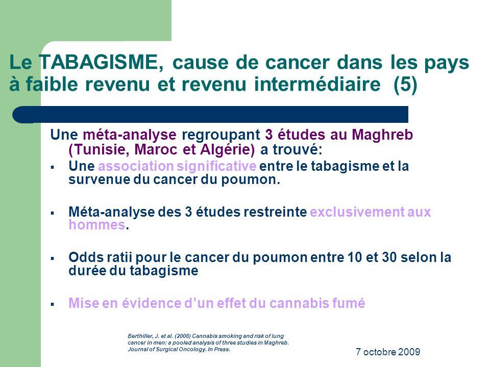 7 octobre 2009 Le TABAGISME, cause de cancer dans les pays à faible revenu et revenu intermédiaire (5) Une méta-analyse regroupant 3 études au Maghreb