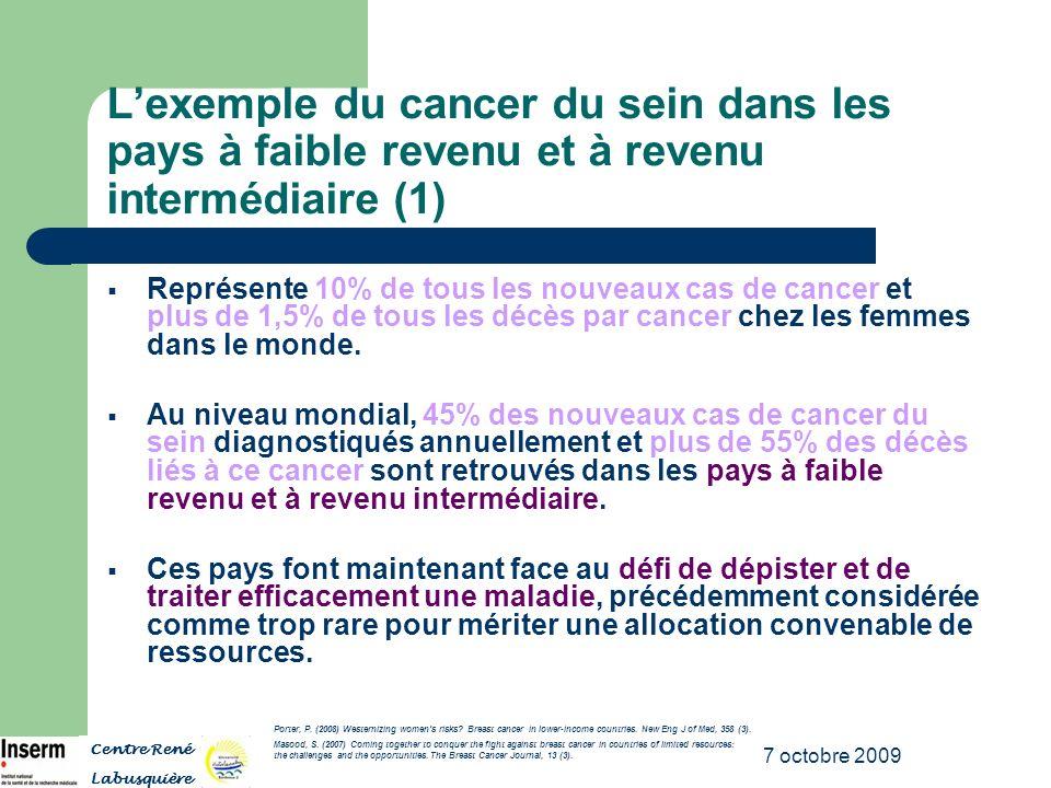 7 octobre 2009 Lexemple du cancer du sein dans les pays à faible revenu et à revenu intermédiaire (1) Représente 10% de tous les nouveaux cas de cance