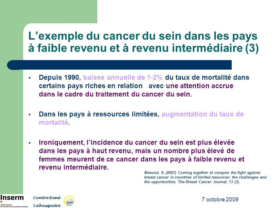 7 octobre 2009 Lexemple du cancer du sein dans les pays à faible revenu et à revenu intermédiaire (3) Depuis 1990, baisse annuelle de 1-2% du taux de