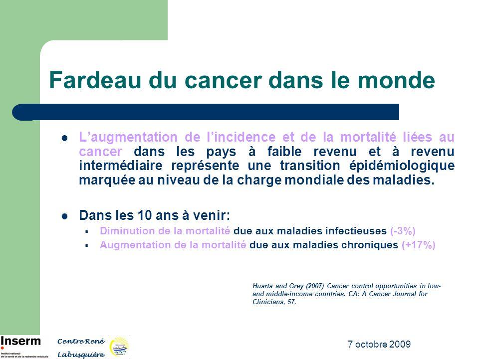 7 octobre 2009 Inégalités mondiales en matière de santé et cancer du sein Objectif: Evaluer le schéma global de lincidence du cancer du sein et des dépenses en santé, avec une emphase particulière sur lAfrique sub-Saharienne.