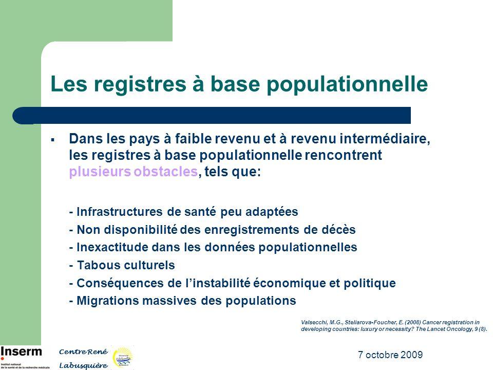 7 octobre 2009 Les registres à base populationnelle Dans les pays à faible revenu et à revenu intermédiaire, les registres à base populationnelle renc