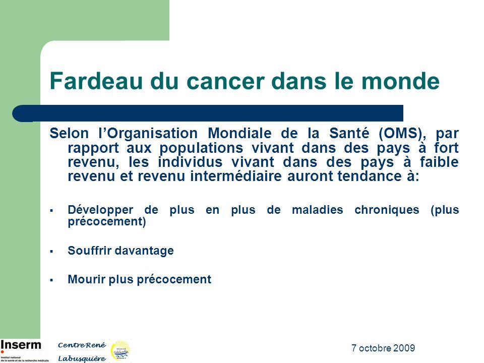 7 octobre 2009 Fardeau du cancer dans le monde Selon lOrganisation Mondiale de la Santé (OMS), par rapport aux populations vivant dans des pays à fort