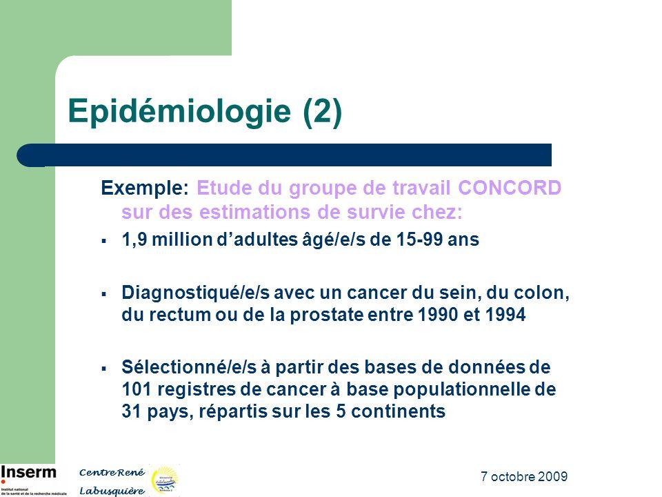 7 octobre 2009 Epidémiologie (2) Exemple: Etude du groupe de travail CONCORD sur des estimations de survie chez: 1,9 million dadultes âgé/e/s de 15-99