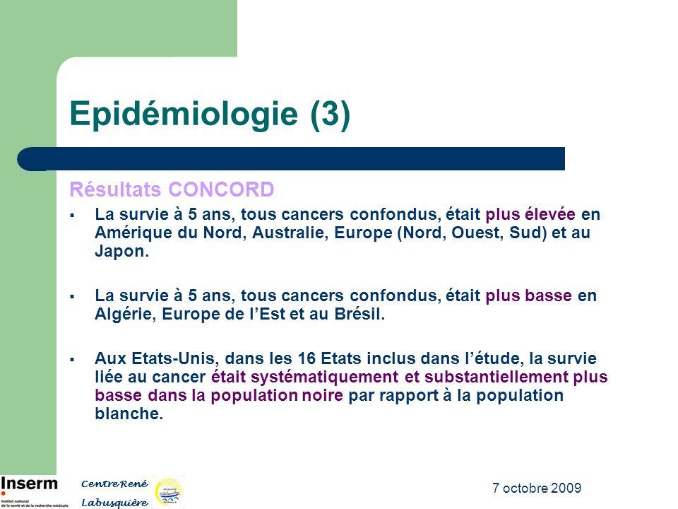 7 octobre 2009 Epidémiologie (3) Résultats CONCORD La survie à 5 ans, tous cancers confondus, était plus élevée en Amérique du Nord, Australie, Europe